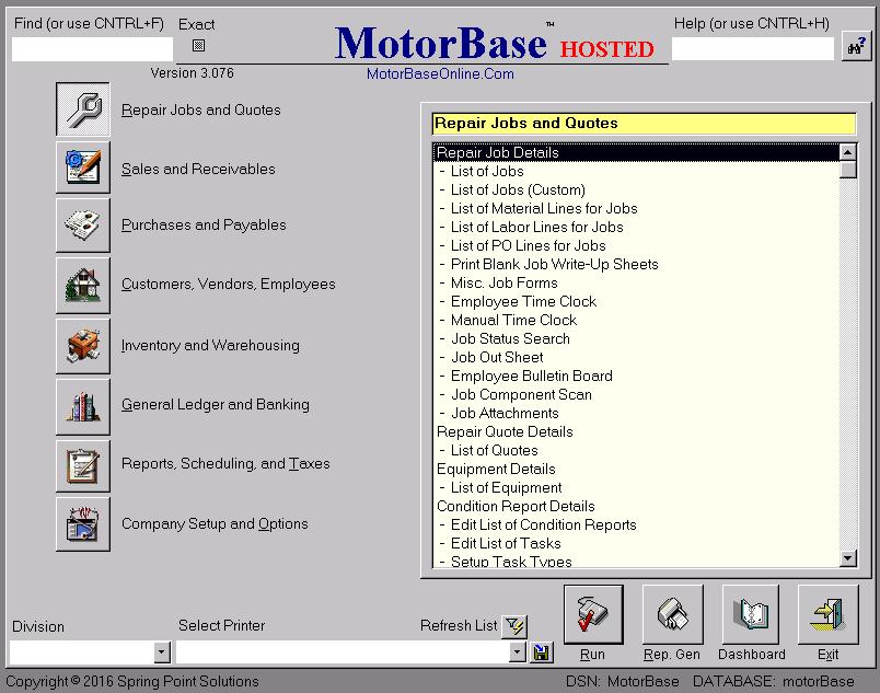 Motorbase Main Menu