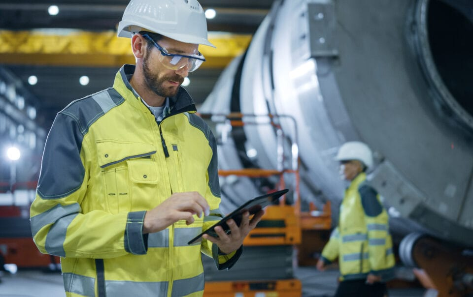 Industrial worker on ipad
