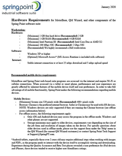 Hardware Requirements for Spring Point Suite